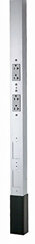 Hubbell Wiring Systems HBLPP10AAL Style Line Extruded Aluminum Service Pole, One Circuit, 125V, 20A, 122'' Height, Duplex Receptacles, Clear