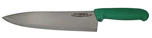 """Food Service Knives 10"""" Professional Restaurant Chef Knife - Green - Color Coded for Safety - Choose Black, Blue, Red, Green, or Yellow - Cook French Stainless Steel New Sharp ()"""