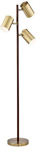 (Donatello Walnut and Brass 3-Light Tree Floor Lamp)
