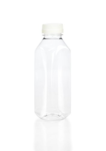 (8) 16 oz. Clear Food Grade Plastic Juice Bottles with WHITE Tamper Evident Caps 8/pack (16oz, White (Plastic Safety Cap)