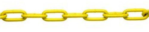 ASC MC187216025 Low Carbon Steel Straight Link Coil Chain, Polycoated Yellow, 2/0 Trade, 1/8