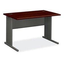 Hon 66000 Stationmaster Series Desk (HON Company Products - Desk, 48amp;quot;x29-1/2amp;quot;x29-1/2amp;quot;, Mahogany/Charcoal - Sold as 1 EA - Desk is a part of the HON 66000 Series StationMaster. 1-1/8amp;quot; thick high-pressure laminate tops have radius edges and wire management grommets. C-legs add stability and incorporate wire management channel to keep cords organized and out of sight. Furniture meets or exceeds applicable ANSI/BIFMA standards.)