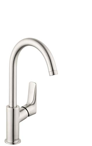 210 Single - Hansgrohe 71130821 Logis 210 Single Hole Bathroom Faucet, Medium, Brushed Nickel