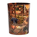 BLACK FOREST DECOR Cabin Scene Tin Waste Basket