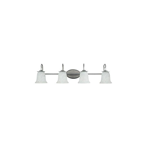 Sea Gull Lighting 44894-57 Bath Vanity with Etched White Alabaster Glass Shades, Weathered Pewter - Bath Lighting Plymouth