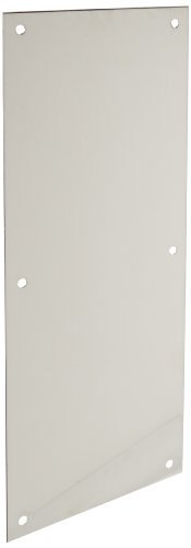 Rockwood 70E.32 Stainless Steel Standard Push Plate, Four Beveled Edges, 16'' Height x 6'' Width x 0.050'' Thick, Polished Finish by Rockwood