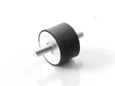 4 Stück Maschinenfuß Möbelfuß Gummi-Metall-Element mit 2-seitigem Gewinde Typ A (M6x16, 20x20) Kora