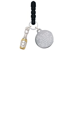 Two Tone Champagne Bottle Stronger Braver Smarter Phone Charm