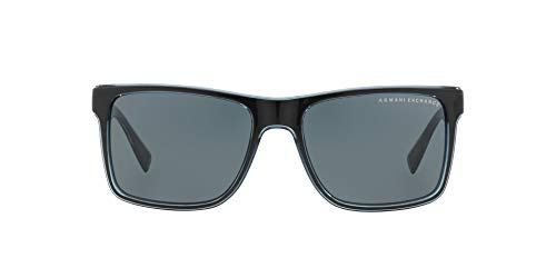 Armani Exchange 0ax4016 Square Sunglasses, black transparent blue grey, 56.0 ()