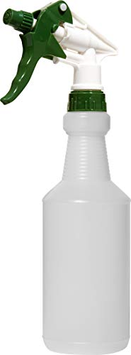 Empty Plastic Spray Bottle 16 Ounce, Professional Chemical Resistant with Green-White Sprayer for Chemical and Cleaning Solution, Heavy Duty, Adjustable Head Sprayer from Fine to Stream