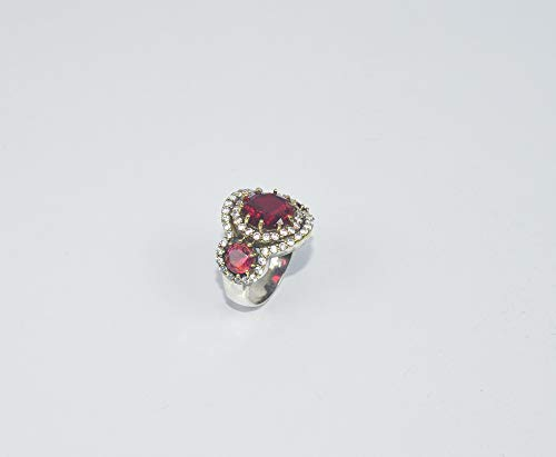 VICTORIANJEWELS 925 Silver and Brass Faceted RED Ruby and CZ Turkish Ring - 7.5 US