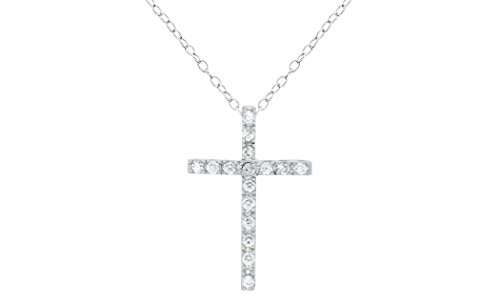 Brilliant Jewelry Round Cut Cz Cross Pendant 18in Cable Chain by NYC Sterling