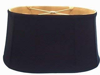 Upgradelights Black Silk with Gold Interior 16 Inch Shallow Retro Oval Washer Lampshade