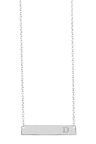 Sterling Forever - Sturdy 925 Sterling Silver Personalized Initial Bar Necklace, 16-18 Inches, Strong Lobster Clasp (D) -