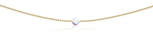 (Benevolence LA Opal Choker Pendant Necklace: Jewelry for Woman Teens Girls The Inspire October Birthstone White Opal 14k Gold Dipped 13 Inch Ball Chain)