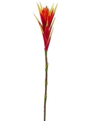 AFL001-2pc-Artificial-Hawaiian-Tropical-Bromeliad-Flower-Stem-in-Red-31-Tall