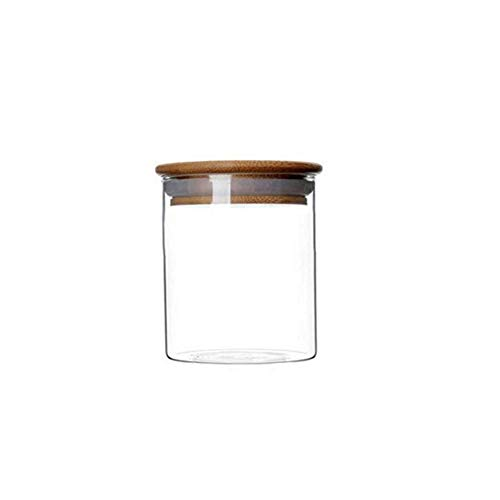 - 1PCS 250ML 8.5OZ Transparent Empty Cylindrical Glass Sealed Tank with Wooden Cover Large Capacity Tea Candy Snacks Spices Storage Holder Refillable Reusable Pot Jar Bottle Can for Daily Life