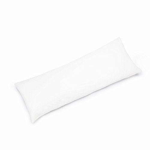 YAROO 21x60 Body Pillow Cover,Body Pillow Case Non-Zippered Enclosure,400 Thread Count,100% Cotton,Solid,Snow White.