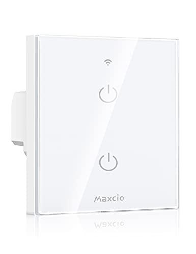 Interruptor Luz WiFi, Maxcio Interruptor Inteligente 2 Gang Compatible con Alexa, Google Home, Control de APP y Función de Temporizador, Neutral Requerido