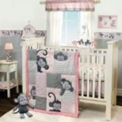 Bedtime Originals Monkey 3 Piece Crib Bedding Set, Pinkie for girls