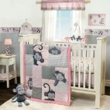 Bedtime Originals 3 Piece Crib Bedding Set, Pinkie (Girl Monkey Crib Bedding)