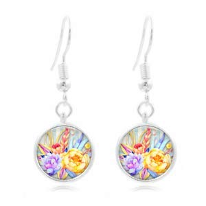 Charms Tibet Dog Silver - 1set Watercolor Flower Tibet Silver Dome Photo 16MM Glass Cabochon Long Earrings