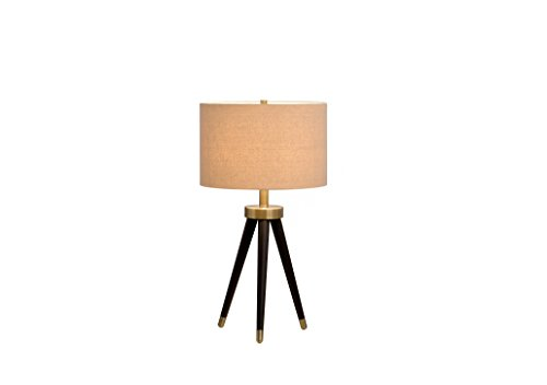 Catalina Lighting 19935-001 Contemporary 3-way Tripod Table Lamp with Metal Accent & Linen Shade, LED Bulb Included Bronze/Antique Brass