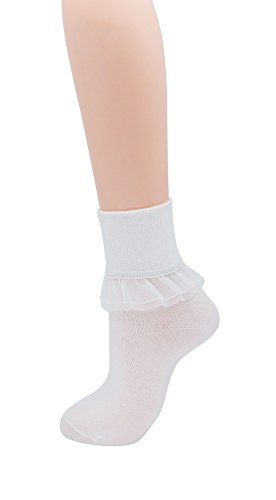 SRYL Women Lace Ruffle Frilly Ankle Socks Fashion Ladies Girl Princess YYS09 (White-1 pairs)