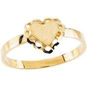 (14K Yellow Gold 7.5Mm Childrens Scalloped Heart Signet Ring)