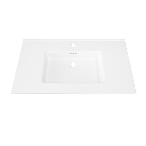 RONBOW Larisa 37 Inch Ceramic Sinktop with Single Faucet Hole in White 215537-1-WH by Ronbow