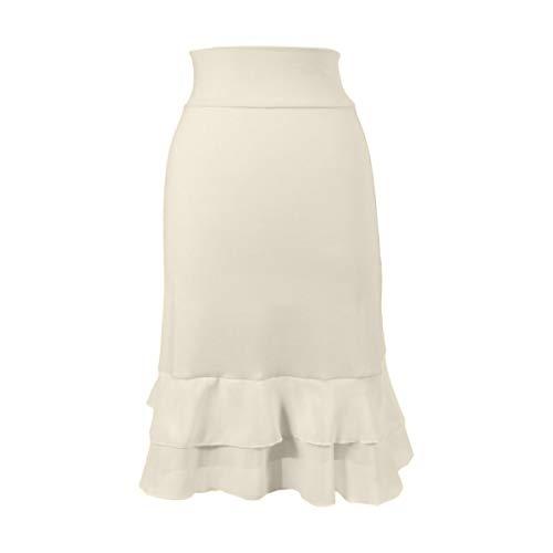 Peekaboo-Chic Iris Chiffon Half Slip Skirt Extender - Womens Skirt Extenders - Cream Skirt Extender for Women - S/M Cream