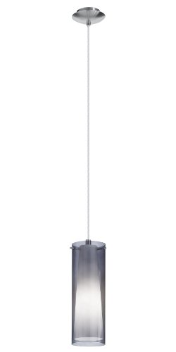 (Eglo 90304A Mini Pendant with Smoked & White Glass, Matte Nickel Finish)