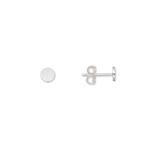 Pair of Sterling Silver Stud Post Earring Findings with Round Flat Pad for Cabochons (4mm)