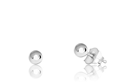 14K White Gold Ball Stud Earrings (3mm - White ()