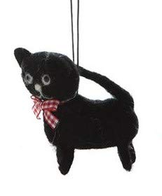On Holiday Felted Wool Black Kitten Christmas Tree Ornament