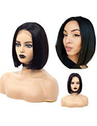 Cool2day Short Lace Front Human Hair Wigs Brazilian Remy Hair Bob Wig with Pre Plucked Hairline with Baby Hair 4x4 Lace Front Wigs (10 inch 150% Density)