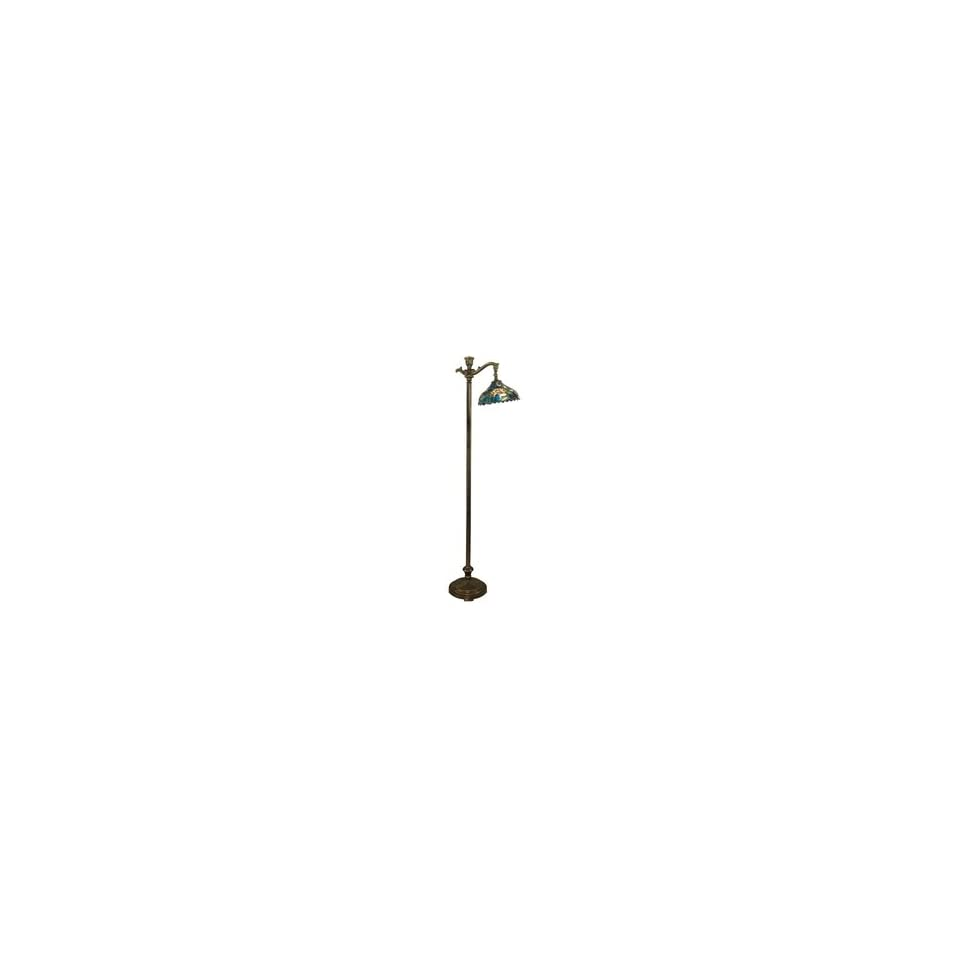 Dale Tiffany TF90236 Waterlily Floor Lamp, Dark Antique Bronze and Art Glass Shade