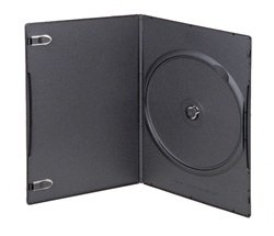 (100) 4mm Super Slim Single Black DVD Cases - DVBR04BK - Slimline Single Dvd Case