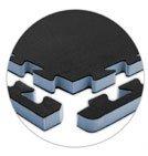 Athletic SoftFloor Tiles - mini-Jumbo, 10'x10' Floor, Black/Gray, 2'x2'x1'' thick