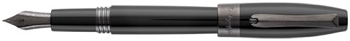 Montegrappa Fortuna Black Resin Gun Metal Trim Broad Point Fountain Pen - ISFOR5LC