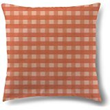 Nostalgiaz Peach Gingham Pillow Cover, 18 x 18 inches