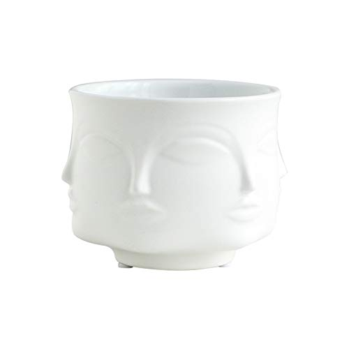 ATUSY Flower Pots & Planters|Fornasetti Vase Creative Design Flower Pot Nordic Style Ceramic Ornaments for Table Flower Face Aromatherapy Candle Cup ()