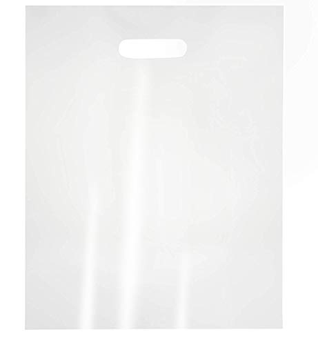 100-Pack Clear 12 x 15 Merchandise Bags with Die Cut Handles, 1-Mil Thick Recyclable LDPE, No Gusset, Bulk Retail Shopping Bags, 12 x 15 Inches -