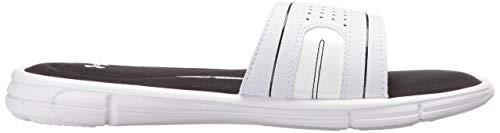 Under Armour womens Ignite VIII Slide Sandal, White (100)/Black, 9 (White Jordan Sandals)