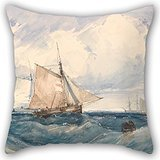 Pillow Covers Of Oil Painting Richard Parkes Bonington - A Cutter And Other Shipping In A Breeze,for Divan,indoor,dining Room,car Seat,shop,couples 16 X 16 Inches / 40 By 40 Cm(two Sides)