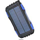 Solar Power Charger [Waterproof/Shockproof/Dustproof] 25000mAh-Dual USB Portable Solar Power Bank for iPhone, Samsung,...