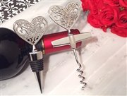 Ornate Silver Heart wine stopper and opener set From FavorOnline