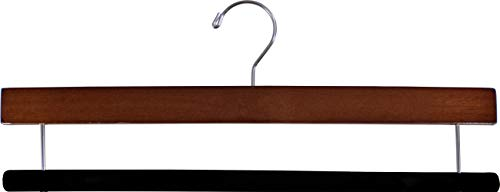 The Great American Hanger Company Extra Long Wooden Pants Hanger with Walnut Finish and Flocked Velvet Bar, (Box of 25) 16 inch Big Wood Bottoms Hangers