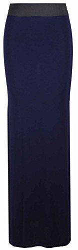 Falda larga y recta para mujer, lisa, con cintura elástica en contraste, para verano azul marino