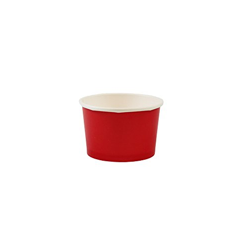 Yocup 4 oz. Solid Red Paper Ice Cream / Frozen Dessert Cup - 50 ct